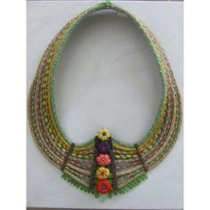 """Kumihimo necklace titled """"Nature's Millefiori"""" by Sue Stevenson. 16 strand round braids worked on a Hamanaka disc. Crochet Necklace, Beaded Necklace, Fiber Art, Beading, Braids, Embroidery, Quilts, Nature, Jewelry"""