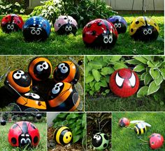 Bowling-Ball-Garden-Ornaments I am going to make some of these using Robs old golf balls and place them around my succulents.
