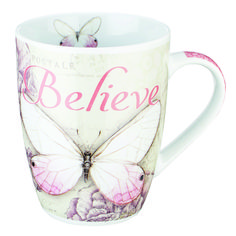 """Botanic Butterfly Blessings Pink """"Believe"""" Mug - Mark 13 Oz. Capacity 4 Inch Tall Ceramic Lead & Cadmium-Free Glaze Microwave & Dishwasher Safe Gift-Boxed Manufactured in China 1 of 3 in a Style Collection Art © Jane Shasky Butterfly Gifts, Pink Butterfly, Butterflies, Christian Art Gifts, Father's Day Celebration, Coffee Cup Art, Believe, Bible Covers, Ceramic Cups"""