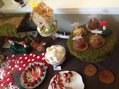"""Deanna Moore Design  printables: http://www.etsy.com/shop/deannamooredesign  Nature party treat table- edible """"bird seed"""" cake, muffins with wooden signs, + strawberry mushrooms!"""