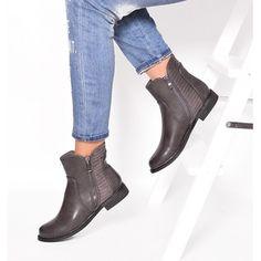 Zimné dámske členkové topánky sivej farby so zipsom a nízkym podpätkom…