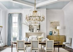 Suzanne Kasler drenched the ceiling of the 2016  Atlanta Homes and Lifestyles Southeastern Designer Showhouse in palest, high gloss blue.