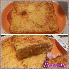 Pastel de coliflor con queso e mental o grano padano más huevos ,cúrcuma, pimienta y béicon.