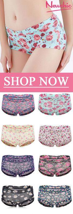 Breathable Printing Hip Lifting Modal Mid Waist Panties #Panties #underwear