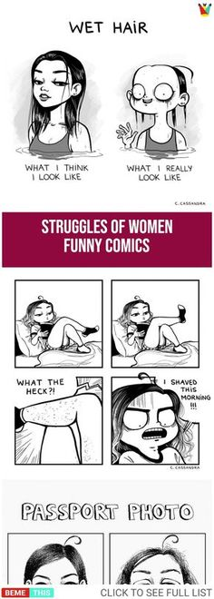 Funny Comics That Shows Struggles of Women comics Funny Comics That Shows Struggles of Women Girly Quotes, Funny Quotes, C Cassandra, Girl Struggles, Life Comics, Comic Drawing, Funny Women, Funny Pins, Funny Stuff