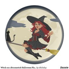 Funny Witch and Cat Paper Plate - decor gifts diy home & living cyo giftidea Halloween Plates, Halloween Party Supplies, Halloween Signs, Halloween Decorations, Round Stickers, Home Gifts, Custom Stickers, Design Art, Classic
