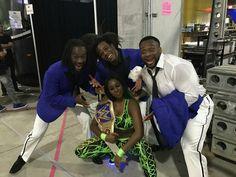 Naomi Backstage celebrating by becoming WWE SD Women's Champion Backstage with Kofi Kingston Xavier Wood & Big E
