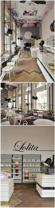 Modern cafe in Paris with high ceilings and interesting shelves