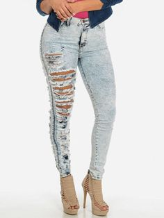 4b1f70413e Sexy Women s Ripped Jeans Pants Tights Elastic Leggings Denim Destructed  Jeans Trousers