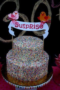 sprinkle cake with gender color inside
