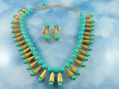 Spectacular High End Faux Turquoise Bead & Gold Tone Necklace Set
