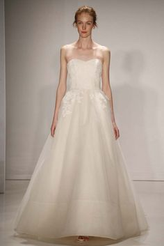 Beautiful, Strapless Bridal Ball Gown Featuring Lace/Lace Appliqued Bodice With Sweetheart Neckline & Organza Skirt by Amsale Fall 2015