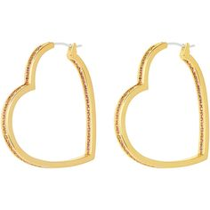 Henri Bendel Pave Heart Hoop Earring (1.570 ARS) ❤ liked on Polyvore featuring jewelry, earrings, henri bendel, light pink, heart shaped earrings, heart earrings, light pink jewelry and pave heart earrings