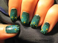 Painted Fingertips Silver Stamping Over Blue Green Grant Macro Re Pin Nail Exchange Pinterest