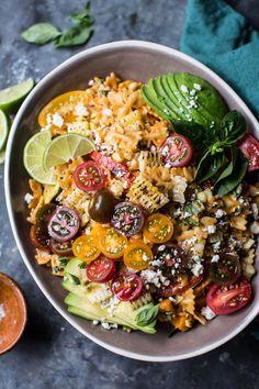 Charred Corn and Zucchini Enchilada Pasta Salad