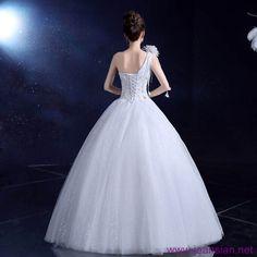 #Fashion #Women New Designed Ruched #Lace up White Big Swing High Waist #WeddingDresses