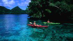 Kayaking in Palau, among the Rock Islands.