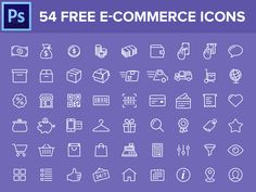 Hi Guys,  He're the free icon set I promised last week, 54 e-commerce related icons.  DOWNLOAD: https://dribbble.com/shots/1791904-54-Free-e-commerce-icons/attachments/294452
