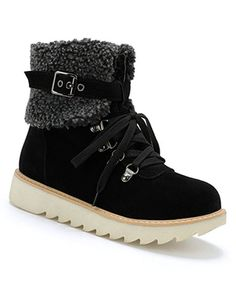 BUTITI Black Buckle-Accent Sherpa-Collar Ankle Snow Boot - Women | Zulily
