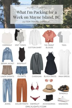 What I'm Packing for a Week on Mayne Island, BC - Emily Lightly // travel capsule wardrobe, minimalist style, summer style, vacation outfit ideas