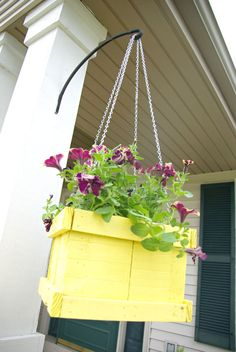 Wood pallet hanging planter, yellow outdoor decor, diy hanging planter, yellow planter, wood pallet planter