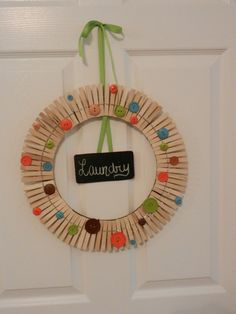 $15.50 Clothes Pin Wreath by all that glitters on Etsy