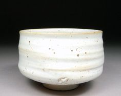 Winter Stoneware Matcha Chawan Tea Bowl glazed with White Shino Natural Iron Spots