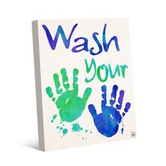 """Handprint Art Discover Creative Gallery 20 in. x 24 in. """"Wash Your Hands"""" Wrapped Canvas Wall Art Print - The Home Depot Acrylic Wall Art, Canvas Wall Art, Wall Art Prints, Kids Canvas Art, Canvas Ideas Kids, Family Crafts, Baby Crafts, Family Art Projects, Crafts For Babies"""