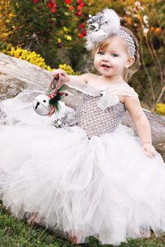 Wedding Silver Bells Tutu Flower Girl Dress