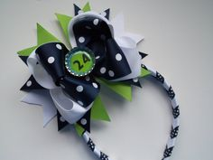 Navy Blue and Lime Green Bow and Head Band Seattle #Seahawks #Bow by ransomletterhandmade, $16.50