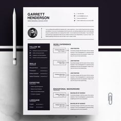 Resume Templates & Design : One Page Resume + Cover Letter Modern Resume Template, Resume Design Template, Creative Resume Templates, Cv Template, One Page Resume Template, Templates Free, Design Templates, Cover Letter For Resume, Cover Letter Template