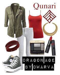 """Dragon Age - Qunari"" by dwarva ❤ liked on Polyvore featuring EAST, AG Adriano Goldschmied, Converse, Hissia, Guerlain and Swarovski"