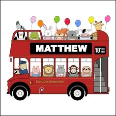 Personalised Name Picture - Double Decker Party Bus with Animals and Balloons Bus Drawing, Name Paintings, Name Pictures, Double Decker Bus, Baby Fabric, Car Themes, London Transport, Party Bus, Kid Character
