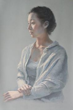 A Student Wears White (pastel on paper, 22x 31) by LONG ShuHui