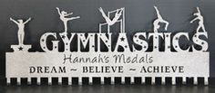 A very popular Gymnastics Medal Holder Personalized Custom Awards Display