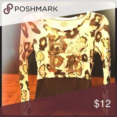 """Girls justice shirt size 12 Justice girls size 12 leopard print gold sequin writing """"hope"""" shirt Justice Shirts & Tops Tees - Long Sleeve"""
