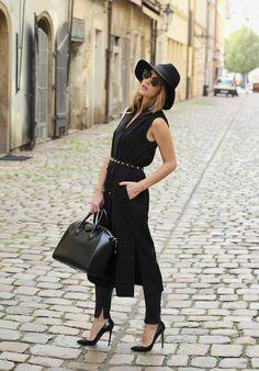 Black Split Belted Button Up Sleeveless Midi Dress