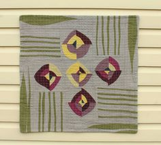 Spring Flowers Modern Quilt - Minimal Linen Wall Hanging   - Square Art Quilt - Handmade Modern Home Decor Linen   #quilt #quilted #wallhanging #linen #blooms #linenquilts #sewing #green #yellow #purple