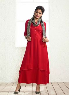 aa155381409 MIRAAMALL PARTY WEAR COTTON KURTIS Red Kurti