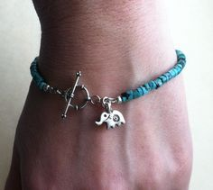 Lucky Elephant Turquoise and Sterling Silver Charm..baby elephant