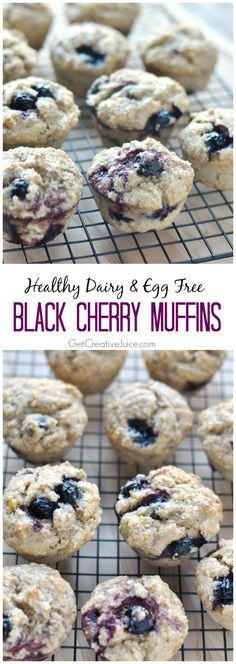 Healthy Black Cherry Muffin Recipe – Dairy, Egg, & Nut Free - Vegan - So delicious you won't know they are healthy for you!