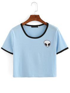 Crop+T-Shirt+Rundhals+mit+Alien+Druck+und+Kontrastsaum+-blau+8.33