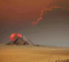 Pyramids in Egypt on October 18, 2013 ; Hunters moon and solar eclipse