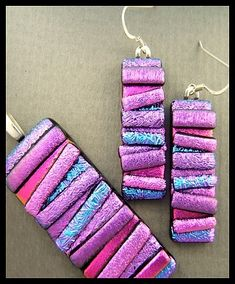 Original dichroic glass pendant and earrings *Pick Up Stix* SRA