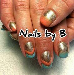 #nailart #handpainted #nailsbyb #gelpolish #chevron #orange #gold #blue