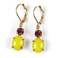 Rose & Lemon  Vintage glass stones and goldplated earwire