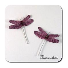 DUO PINCES ANTI GLISSE LIBELLULE ROSE ARGENTE - Boutique www.magicreation.fr