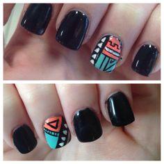 Aztec Tribal Acrylic Black Nails