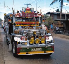 Filipino Jeepney - main mode of transportation. It's pretty cool!