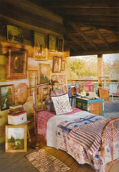 Lakeside sleeping porch - very kitschy cute!